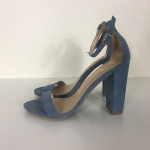 Lulu's Blue Ankle Strap Taylor Suede High Heels